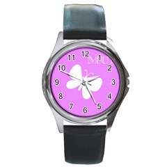 Mom Round Leather Watch (silver Rim) by Colorfulart23