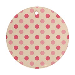 Pale Pink Polka Dots Round Ornament by Colorfulart23