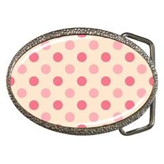 Pale Pink Polka Dots Belt Buckle (oval)