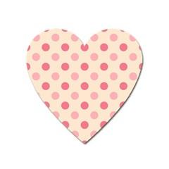 Pale Pink Polka Dots Magnet (heart)