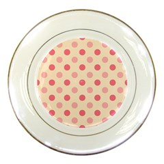 Pale Pink Polka Dots Porcelain Display Plate by Colorfulart23