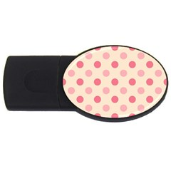 Pale Pink Polka Dots 4gb Usb Flash Drive (oval) by Colorfulart23