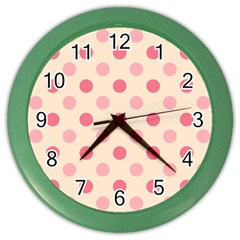 Pale Pink Polka Dots Wall Clock (color) by Colorfulart23