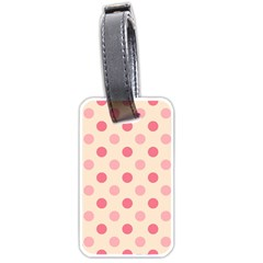 Pale Pink Polka Dots Luggage Tag (two Sides) by Colorfulart23