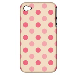 Pale Pink Polka Dots Apple Iphone 4/4s Hardshell Case (pc+silicone) by Colorfulart23