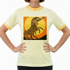 Embracing The Moon Women s Ringer T Shirt (colored) by twoaboriginalart