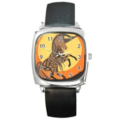Embracing The Moon Square Leather Watch by twoaboriginalart