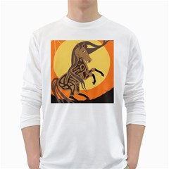 Embracing The Moon Men s Long Sleeve T Shirt (white) by twoaboriginalart