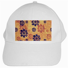 Funky Floral Art White Baseball Cap by Colorfulart23
