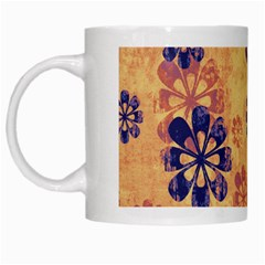 Funky Floral Art White Coffee Mug by Colorfulart23