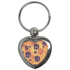 Funky Floral Art Key Chain (heart) by Colorfulart23
