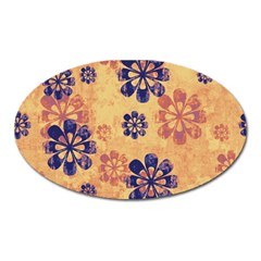 Funky Floral Art Magnet (oval) by Colorfulart23