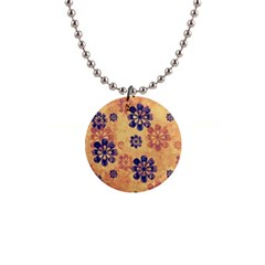 Funky Floral Art Button Necklace by Colorfulart23