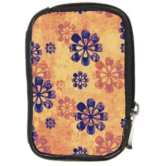 Funky Floral Art Compact Camera Leather Case by Colorfulart23