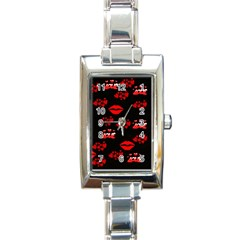 Red Hearts And Lips Rectangular Italian Charm Watch by Colorfulart23