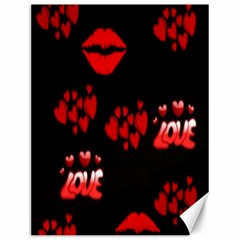 Love Red Hearts Love Flowers Art Canvas 12  X 16  (unframed) by Colorfulart23