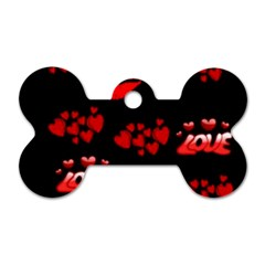 Love Red Hearts Love Flowers Art Dog Tag Bone (one Sided)