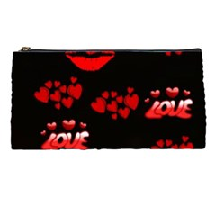 Love Red Hearts Love Flowers Art Pencil Case by Colorfulart23
