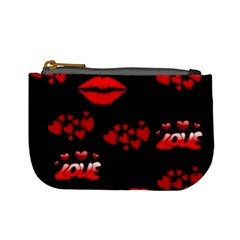 Love Red Hearts Love Flowers Art Coin Change Purse