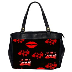 Love Red Hearts Love Flowers Art Oversize Office Handbag (two Sides) by Colorfulart23