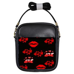 Love Red Hearts Love Flowers Art Girl s Sling Bag