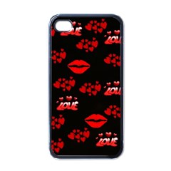 Love Red Hearts Love Flowers Art Apple Iphone 4 Case (black) by Colorfulart23