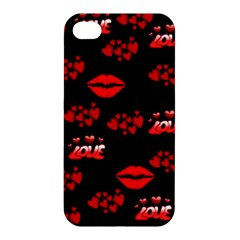 Love Red Hearts Love Flowers Art Apple Iphone 4/4s Premium Hardshell Case by Colorfulart23