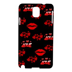Love Red Hearts Love Flowers Art Samsung Galaxy Note 3 N9005 Hardshell Case