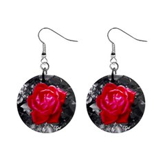 Red Rose Mini Button Earrings