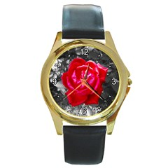 Red Rose Round Leather Watch (gold Rim)