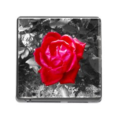 Red Rose Memory Card Reader With Storage (square) by jotodesign