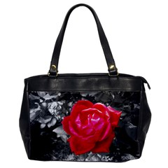Red Rose Oversize Office Handbag (one Side) by jotodesign