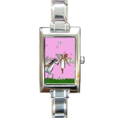 Unicorn And Fairy In A Grass Field And Sparkles Rectangular Italian Charm Watch by goldenjackal