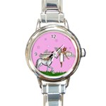 Unicorn And Fairy In A Grass Field And Sparkles Round Italian Charm Watch