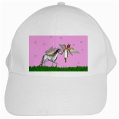Unicorn And Fairy In A Grass Field And Sparkles White Baseball Cap by goldenjackal