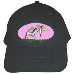 Unicorn And Fairy In A Grass Field And Sparkles Black Baseball Cap by goldenjackal