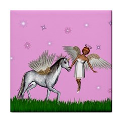 Unicorn And Fairy In A Grass Field And Sparkles Ceramic Tile by goldenjackal
