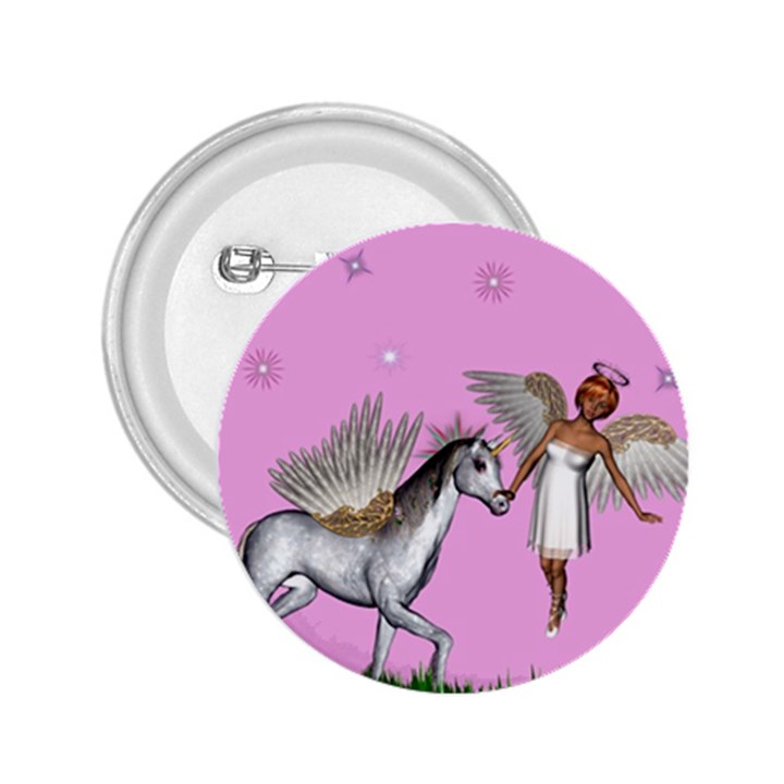 Unicorn And Fairy In A Grass Field And Sparkles 2.25  Button