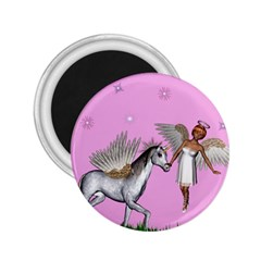 Unicorn And Fairy In A Grass Field And Sparkles 2 25  Button Magnet