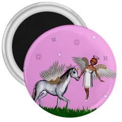 Unicorn And Fairy In A Grass Field And Sparkles 3  Button Magnet by goldenjackal