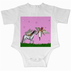 Unicorn And Fairy In A Grass Field And Sparkles Infant Bodysuit by goldenjackal
