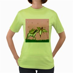 Unicorn And Fairy In A Grass Field And Sparkles Women s T Shirt (green) by goldenjackal
