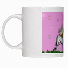 Unicorn And Fairy In A Grass Field And Sparkles White Coffee Mug by goldenjackal