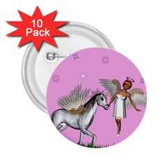 Unicorn And Fairy In A Grass Field And Sparkles 2 25  Button (10 Pack) by goldenjackal