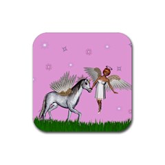 Unicorn And Fairy In A Grass Field And Sparkles Drink Coasters 4 Pack (square) by goldenjackal