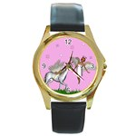 Unicorn And Fairy In A Grass Field And Sparkles Round Leather Watch (Gold Rim)