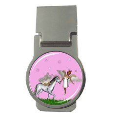 Unicorn And Fairy In A Grass Field And Sparkles Money Clip (round) by goldenjackal