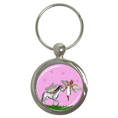 Unicorn And Fairy In A Grass Field And Sparkles Key Chain (round) by goldenjackal