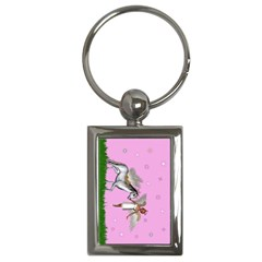 Unicorn And Fairy In A Grass Field And Sparkles Key Chain (rectangle) by goldenjackal