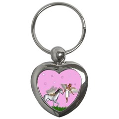 Unicorn And Fairy In A Grass Field And Sparkles Key Chain (heart) by goldenjackal